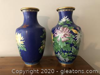 Pair of Cloisonne Urn/Vases