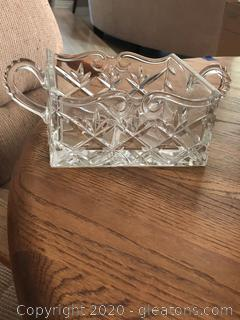 Shannon 24% Lead Crystal Square Bowl /Napkin Holder