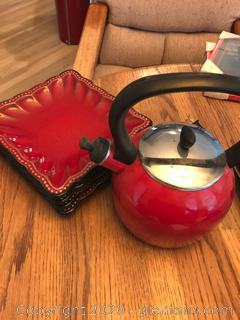 Roscher Red Square Plates Red Tea Kettle
