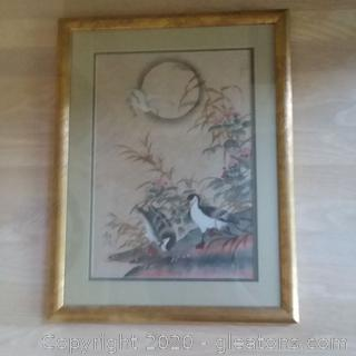 Framed and Matted Asian Original Watercolor Painting B