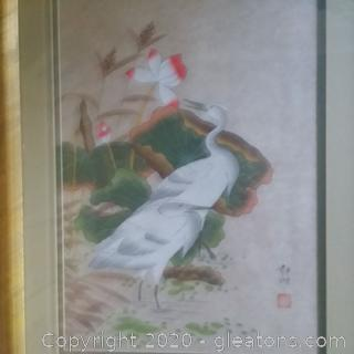 Framed and Matted Asian Original Watercolor Painting A