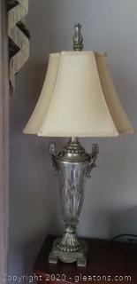 "35½"" Vintage Look Crystal Lamp with Shade"