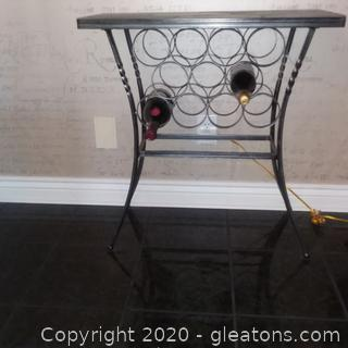 Floor Bottle Wine Rack- Wrought Iron with Stone Top