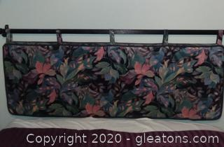 Queen Size Hand Crafted Head Board Matching Dust Ruffle and Trash Can
