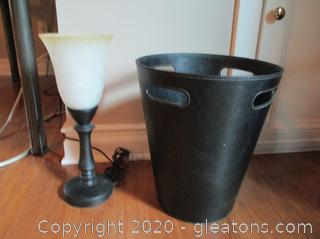 Accent Lamp and Trashcan