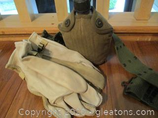 US Military Canteen Set and Flight Gloves