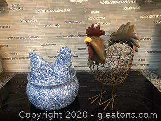 Unique Pair of Chicken Decor Pieces