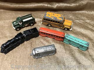 7 Vintage Metal Toy Vehicles