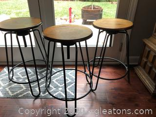 3 Wooden Top Metal Barstools