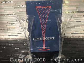 "Six pairs of Luminesce  ""Spiral Option"" Champagne Flutes, from 1999"