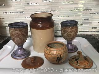 A Trio of Handmade Pottery and a Lidded Crock