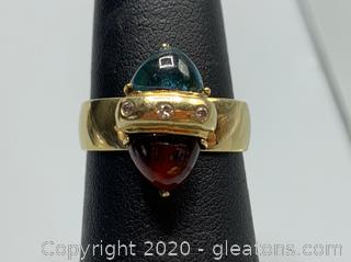 14k Garnet and Topaz Ring