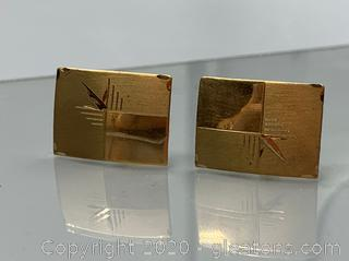 14k Art Deco Cuff Links