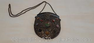 Vintage Silver Stone and Metal Purse