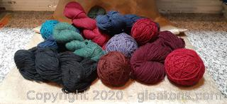 Variety of Heather Wool Yarn In Bag