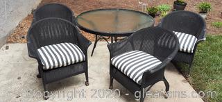 4 Metal, Glass and Wicker Chairs
