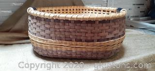 Large Handmade Reed Double Basket with Handles