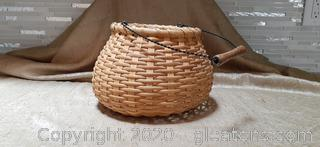 Handmade Reed Basket with Metal and Wood Handle