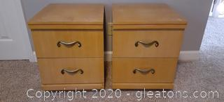 Vintage Blonde Johnson Carper Pair of Night Stands