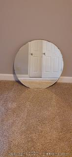 Antique L.E.David + Company Round Wall Mirror