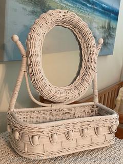 White Wicker Vanity Mirror W/Basket