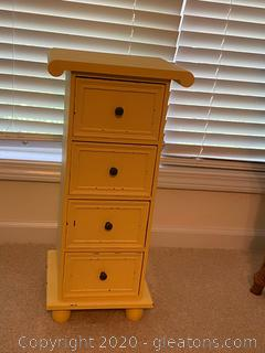 Ross Yellow 4 Drawer Accent Table