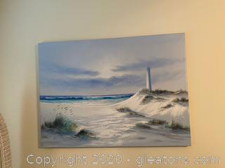 K.Wilson Lighthouse Seascape Painting –Signed