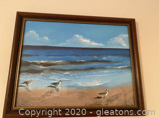 Original Framed Painting of Seagulls On The Beach