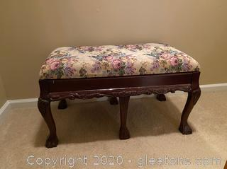 Floral Print Hall Bench