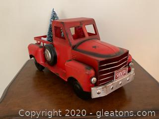 Vintage Metal red Truck with 3 Removable Bottle Brush Trees