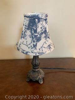 Vintage Mini Table Lamp with Cloth Shade