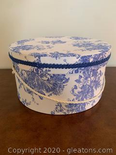 Blue Toile Hat Box