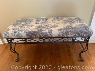 Upholstered Iron Bench (A)