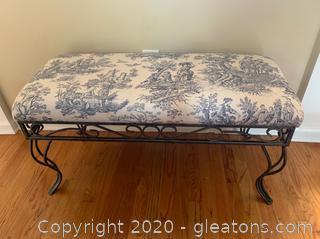 Upholstered Iron Bench (B)