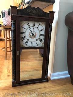 Old Labeled Ported Kimball Wooden Split Column and Splat Shelf Clock