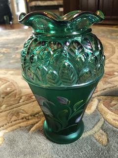 Fenton Designer Showcase Green Leaf Vase