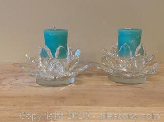 Small Crystal Candle Holder Set