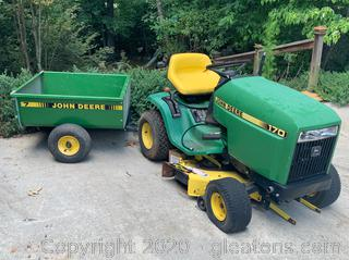 John Deere E170 Lawn Tractor and Utility Cart