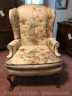 Beautiful Wingback Armchair with 2 Velour Pillows Matches Lot 1706