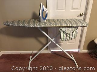 Iron, Ironing Board With Pad and Cover