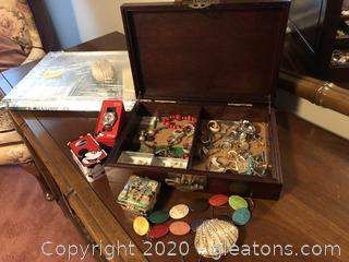 Costume Jewelry With Wooden Jewelry Box And Disney Watch