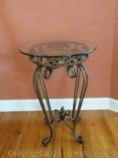 Small Glass Topped Wrought Iron Table