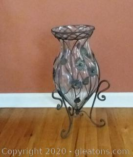 Tall Metal and Glass Decorative Vase