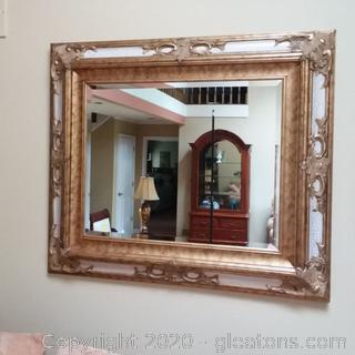 Oversized Ornate Wall Mirror with Beveled Glass