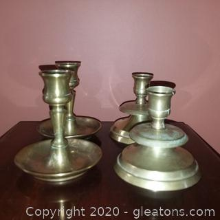 4 Brass Candle Holders