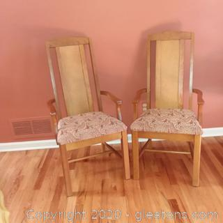 2 Armed Side Chairs with Upholstered Seats