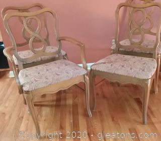 4 Vintage Dining Room Chairs with Upholstered Seat 1 is a Captain's Chair