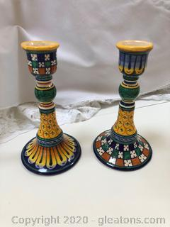 Deruta Italy Pottery Candle Sticks