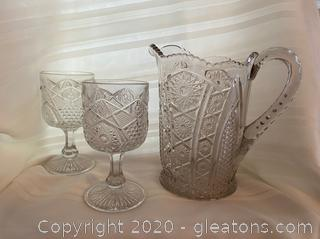 Vintage Cut Glass Pitcher and Goblets