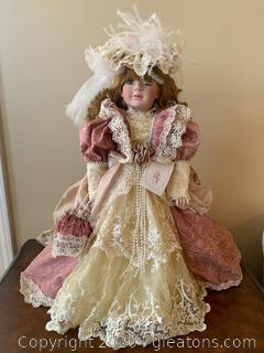 "Treasured Heirloom Collection ""Emily Rose"" Doll with Stand"